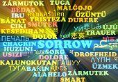 stock photo of sorrow  - Background concept wordcloud multilanguage international many language illustration of sorrow glowing light - JPG