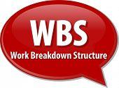 picture of breakdown  - word speech bubble illustration of business acronym term WBS Work Breakdown Structure - JPG