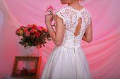 stock photo of corset  - Corset wedding dress for bride beautiful girl in elegant wedding dress - JPG