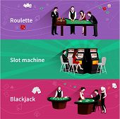 picture of poker machine  - People in casino horizontal banner set with roulette slot machine blackjack elements isolated vector illustration - JPG