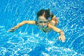 image of swimming  - Happy active underwater child swims in pool - JPG
