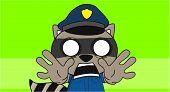 stock photo of police  - raccoon police cartoon background in vector format very easy to edit - JPG