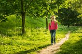 pic of little school girl  - happy little girl go to school through the forest - JPG