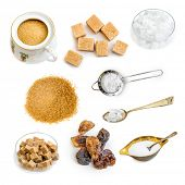 pic of white sugar  - Photo collage of amber brown and white sugar isolated on a white background - JPG