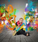 pic of trumpets  - Girl musician plays trumpet with colorful trails - JPG