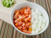 image of scallion  - Cuisine and Food Chopped Tomatoes Onions and Scallion on Wooden Cutting Board - JPG