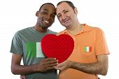 stock photo of same sex marriage  - Interracial male gay couple celebrating legalization of same - JPG
