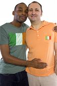 image of same sex  - Interracial male gay couple celebrating legalization of same - JPG