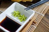 picture of soy sauce  - Japanese mustard Wasabi with soy sauce and chopstick on the table - JPG