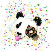 stock photo of panda bear  - Funny Panda Bear with watercolor splash textured background - JPG