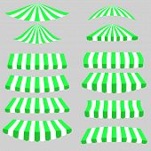 picture of canopy roof  - Green White Tents Icons Isolated on Grey Background - JPG