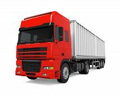 pic of delivery-truck  - Red Cargo Delivery Truck isolated on white background - JPG