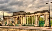 stock photo of gate  - Gate of Hyde Park in London  - JPG