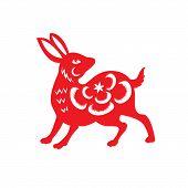 pic of rabbit year  - Red paper cut a rabbit zodiac symbols - JPG