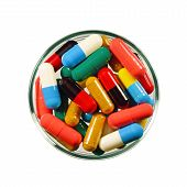 image of oral  - Colorful of oral medications Dish Isolated with Clopping Path - JPG