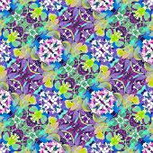 image of vivid  - Digital collage technique vivid floral collage motif seamless pattern in multicolored tones - JPG