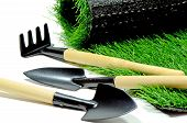 image of blunt  - Small Gardening Tools and Artificial Turf Isolated on White Background - JPG