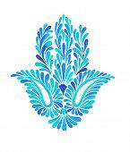 picture of hamsa  - a watercolor illustration of a beautiful hamsa hand  - JPG