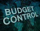 stock photo of budget  - Budget Control text concept on green digital world map background - JPG