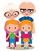 stock photo of grandparent child  - Vector cartoon illustration of grandparents with their grandchildren boy and girl isolated on white background - JPG