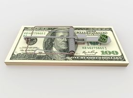 stock photo of mouse trap  - Symbolic render illustration of a mouse trap made with a bundle of 100 dollar bill with money symbol as bait isolated on a white background - JPG