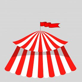 pic of circus tent  - Circus Tent Icon Isolated on Grey Background - JPG