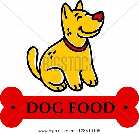poster of Vector flat hand drawn happy dog portrait. Dog logo template. Dog icon. Dog store, dog barberry, dog shop, dog clinic, dog center, dog food. Doggy illustration. Animal accessories.