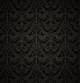 Постер, плакат: Бесшовные обои шаблон черный