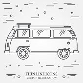 Travel Bus Family Camper Thin Line. Traveler Truck Tourist Bus Outline Icon. Rv Travel Bus Grey And poster
