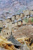 picture of dogon  - Dogon granaries in a village along the base of the Bandiagara escarpment - JPG