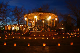 image of luminaria  - christmas eve luminarias around the central gazebo in old town albuquerque nm. ** Note: Slight blurriness, best at smaller sizes - JPG
