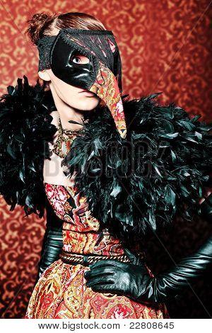 Постер, плакат: Мода выстрел из красивой модели на винтажные фон , холст на подрамнике