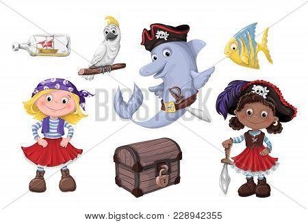 Set Cute Cartoon Girl Pirate