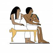 Постер, плакат: Egypt Man And Woman Sitting Ancient Egypt Builders At Work Illustration Man At Work Group Of Work
