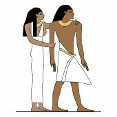 Постер, плакат: Egypt Man And Woman Standing Ancient Egypt Family At Home Illustration Man At Work Group Of Worke