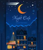 Night Cafe In The Night City. Night Town. Urban Landscape. Street Lights In The Night. Vector Illust poster
