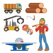Sawmill Woodcutter Character Logging Equipment Lumber Machine Industrial Wood Timber Forest Vector I poster
