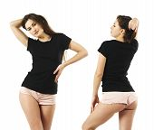 Photo Of A Sexy Young Woman With Short Shorts Wearing A Blank Black Shirt, Front And Back. poster
