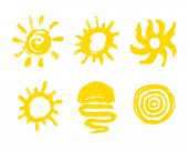 Sun Paint Brush Strokes Vector. Painted Sun Icon. Grunge Design Element For Weather Forecast Website poster