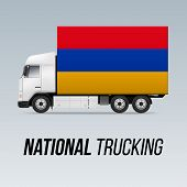 Symbol Of National Delivery Truck With Flag Of Armenia. National Trucking Icon And Armenian Flag poster