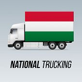 Symbol Of National Delivery Truck With Flag Of Hungary. National Trucking Icon And Hungarian Flag poster