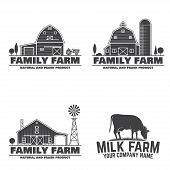 Family Farm And Milk Farm Badges Or Labels. Vector Illustration. Vintage Typography Design With Cow  poster