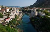 picture of mosk  - Photo of the old bridge in Mostar connecting the bosnian and croats sides - JPG