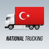 Symbol Of National Delivery Truck With Flag Of Turkey. National Trucking Icon And Turkish Flag poster