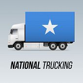 Symbol Of National Delivery Truck With Flag Of Somalia. National Trucking Icon And Somalian Flag poster