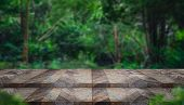 Empty Step Grunge Wood Table Top With Blur Tree In Tropical Forest With Bokeh Light At Background,mo poster