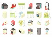 Home Appliances Icon Set. Cartoon Set Of Home Appliances Vector Icons For Web Design Isolated On Whi poster