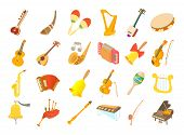 Musical Instrument Icon Set. Cartoon Set Of Musical Instrument Vector Icons For Web Design Isolated  poster