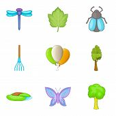 Spring Break Icons Set. Cartoon Set Of 9 Spring Break Vector Icons For Web Isolated On White Backgro poster