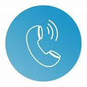 Phone Thin Line Icon. Phone Icon In Circle. Vector Phone Icon. Round Phone Icon Illustration Eps10 poster